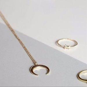 Gold Tone Boho Crescent Moon Necklace